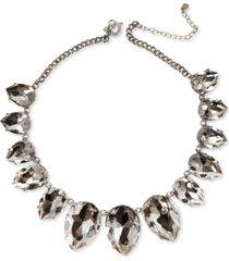 """thalia sodi silver-tone oversized crystal statement necklace, 18"""" + 3"""" extender, created for macy's"""
