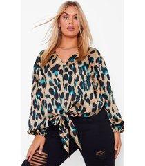 plus luipaardprint blouse met strik, tan