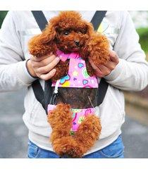 pet / pet propia mochila portátil bolsa / bolsa saliente pecho cuatro correas de hombro doble orificio mediano, medida de pecho: 25-40cm, color al azar entrega