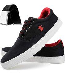 sapatênis dhl calçados casual masculino preto e vermelho + cinto