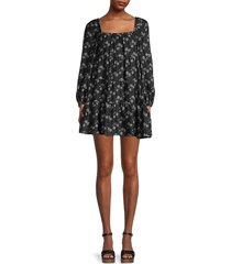 alice + olivia by stacey bendet women's rowen tiered mini a-line dress - black cream - size xs