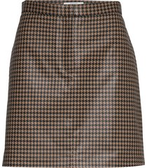 bianche check kort kjol brun dagmar