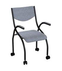 cadeira de escritório secretária colorado estofada preta e cinza
