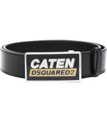 dsquared2 rectangle logo buckle belt - black