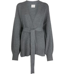 le kasha oversized belted cardigan - grey