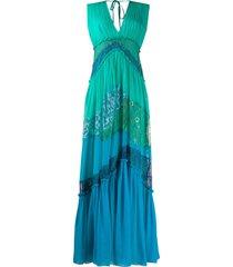 alberta ferretti lace panelled maxi dress - green