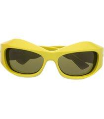 bottega veneta eyewear bv1086s wraparound sunglasses - yellow
