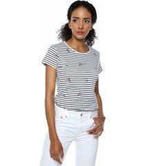 camiseta blanco-azul mng