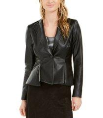 bar iii faux-leather peplum jacket, created for macy's