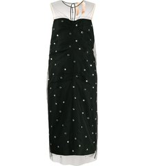 nº21 tulle overlay crystal-embellished dress - black