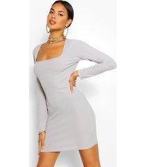 geribbelde bodycon jurk met vierkante hals en open rug, grijs