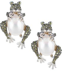 animal trend rhodium-plated, 13mm x 10mm pearl & crystal frog earrings