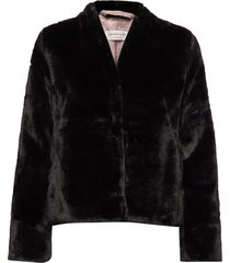 coat ls outerwear faux fur zwart rosemunde