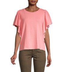 saks fifth avenue women's angel flutter sleeve top - peach - size s