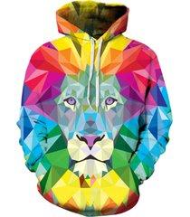 nice stylish men/women 3d sweatshirt print watercolor colorful blocks lion