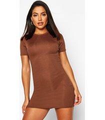 basic geribbelde bodycon jurk met crewneck, chocolade