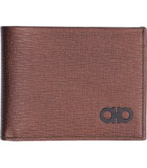 salvatore ferragamo leather flap-over wallet