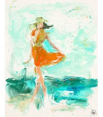 """creative gallery girl at the beach at low tide abstract 20"""" x 16"""" canvas wall art print"""