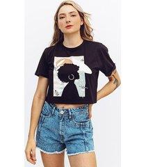 camiseta amplia corta manga corta angy