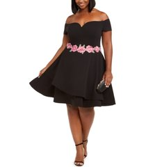 b darlin trendy plus size off-the-shoulder fit & flare dress
