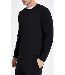river island mens black crew neck long sleeve sweatshirt