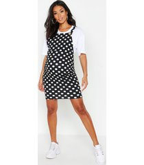 maternity polka dot pinafore dress, black
