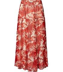 maxi-rok met bladerenprint en lurex bonny  rood
