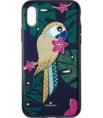 custodia per smartphone con bordi protettivi tropical parrot, iphoneâ® x/xs, multicolore scuro