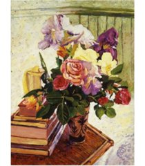 "david lloyd glover cut iris and roses canvas art - 37"" x 49"""