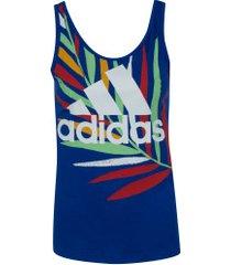 camiseta regata adidas farm gfx tk - feminina - azul/branco