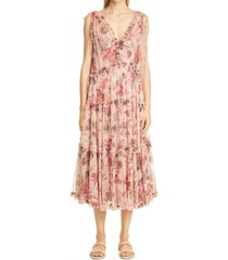 zimmermann cassia floral print frill silk midi dress, size 1 in musk floral at nordstrom