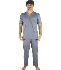 pijama mvb modas longo adulto manga curta e calça cinza