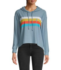 chaser women's striped hoodie - blue stripes - size s