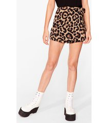 womens in the meow-ment leopard skort shorts - brown