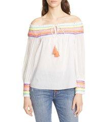 women's alice + olivia sharyl rainbow stripe off the shoulder peasant blouse, size large - ivory