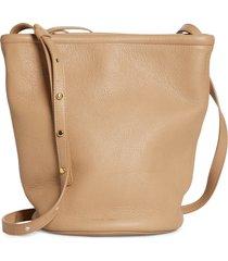 mansur gavriel leather zip bucket bag - grey