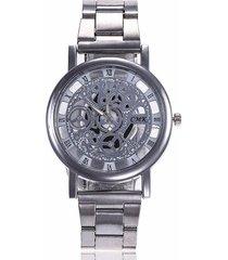 reloj unisex skeleton metalico - plata