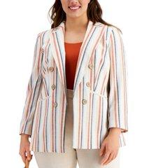 bar iii trendy plus size striped chambray blazer, created for macy's
