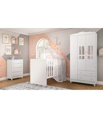 dormitã³rio ariel guarda roupa 3 portas/cã´moda ariel/berã§o gabi branco carolina baby - branco - dafiti