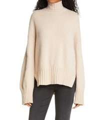 women's frame high/low wool blend sweater, size large - beige