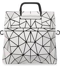 patrizia luca women's geo chevron-pattern double-handle satchel - matte white
