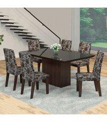mesa de jantar 6 lugares manu venus ameixa/cobre/preto - viero móveis