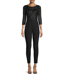 quarter-sleeve sequined jumpsuit