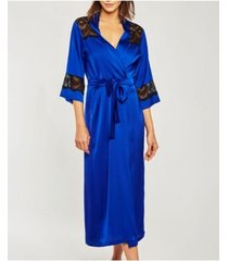 icollection-tess satin long robe with elegant black lace trim