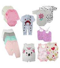 kit roupinhas de bebê 14 peças mini enxoval verão fresquinho rosa