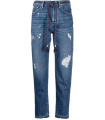 jacob cohen distressed tassel-detail jeans - blue