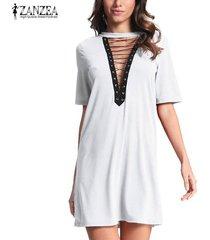 zanzea mujeres gargantilla profundo escote en v de encaje camisa sueltos vestido del vendaje de bodycon del mini vestido de fiesta -blanquecino