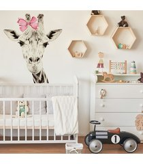 żyrafa sepia w kokardce - naklejka na ścianę