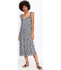 loft palm flutter strap pocket midi dress