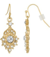 2028 gold-tone imitation pearl and crystal drop earrings